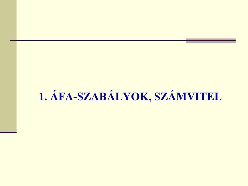 1. ÁFA-SZABÁLYOK, SZÁMVITEL
