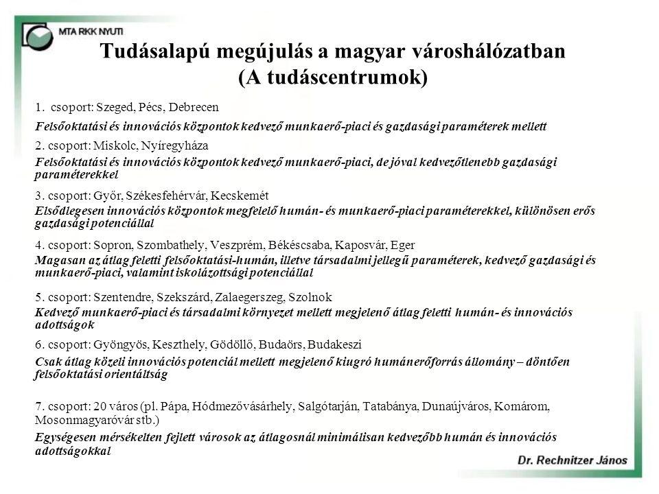 Tudásalapú megújulás a magyar városhálózatban (A tudáscentrumok)