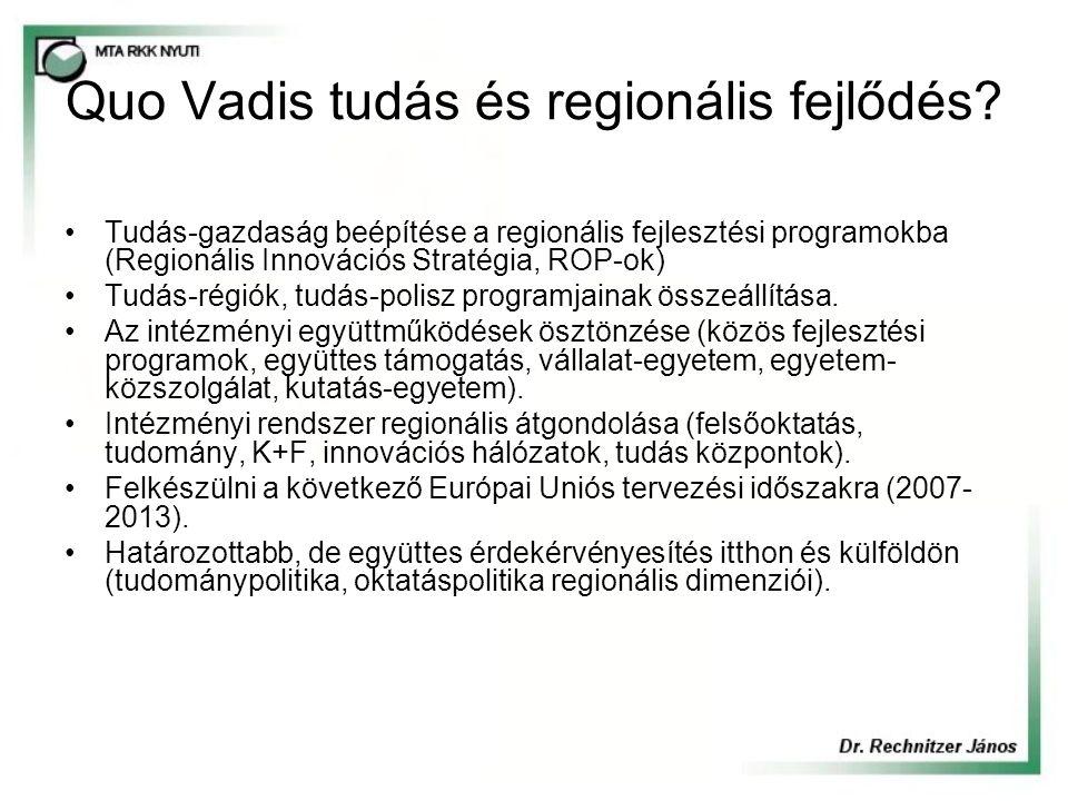Quo Vadis tudás és regionális fejlődés