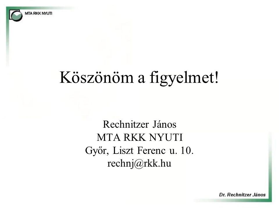 Rechnitzer János MTA RKK NYUTI Győr, Liszt Ferenc u. 10. rechnj@rkk.hu