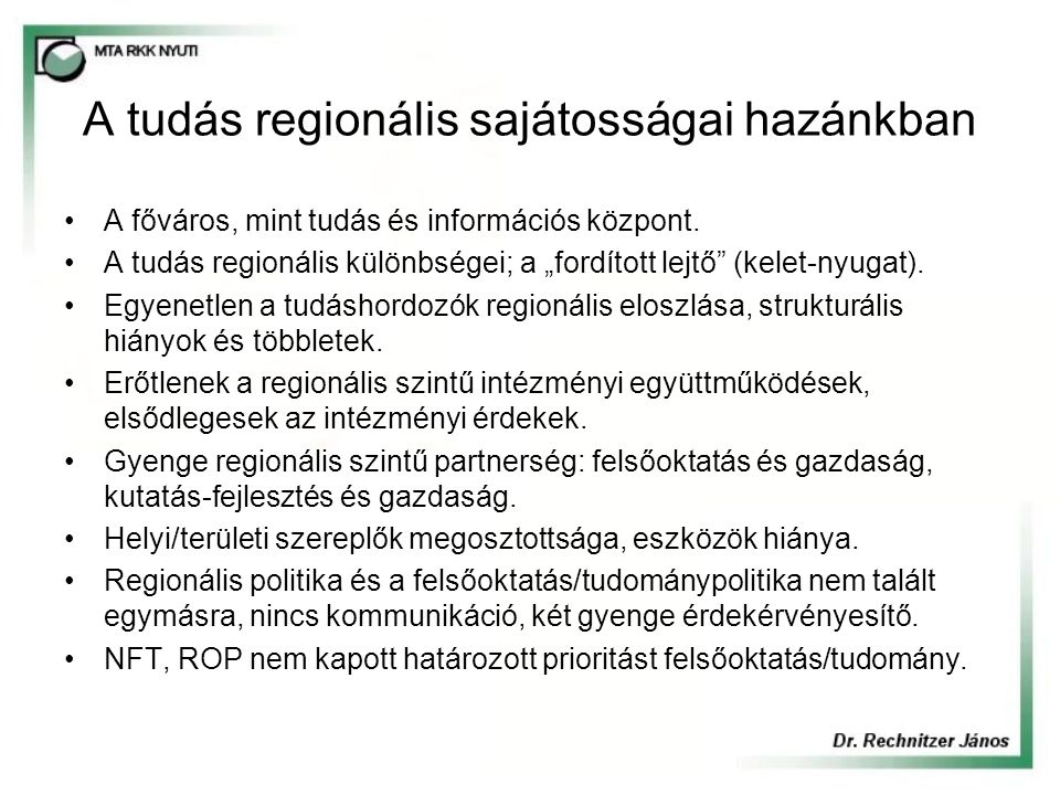 A tudás regionális sajátosságai hazánkban