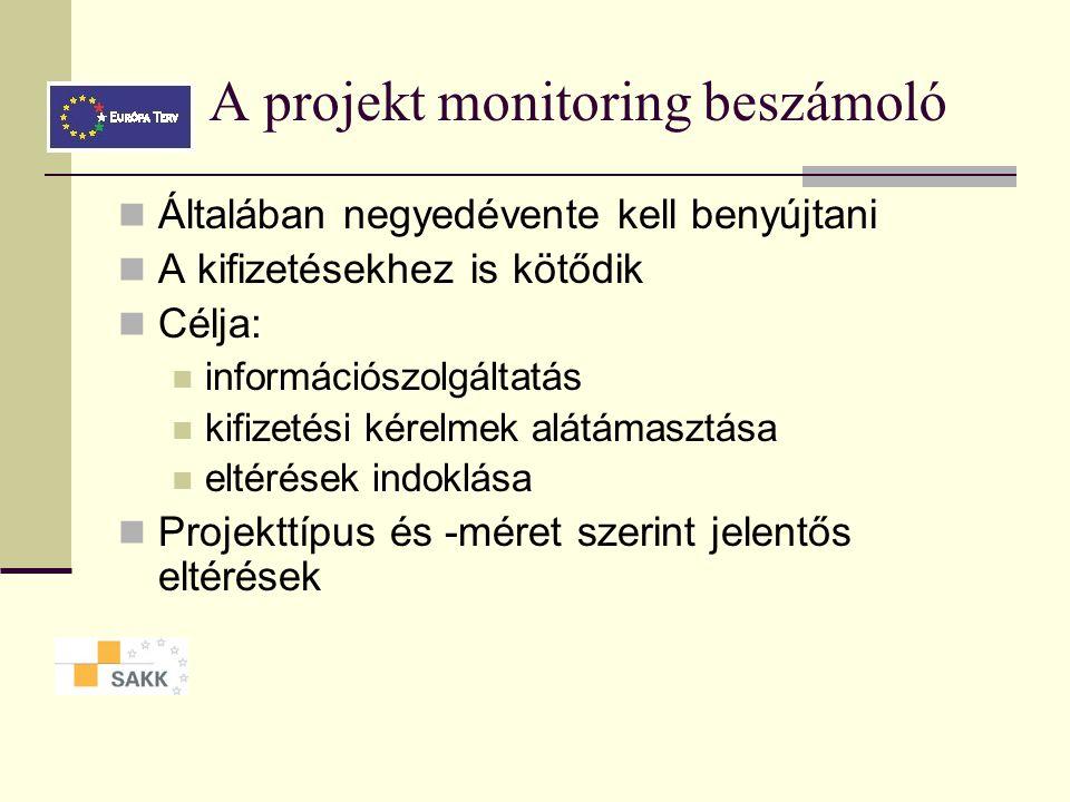 A projekt monitoring beszámoló