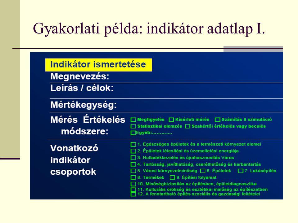 Gyakorlati példa: indikátor adatlap I.