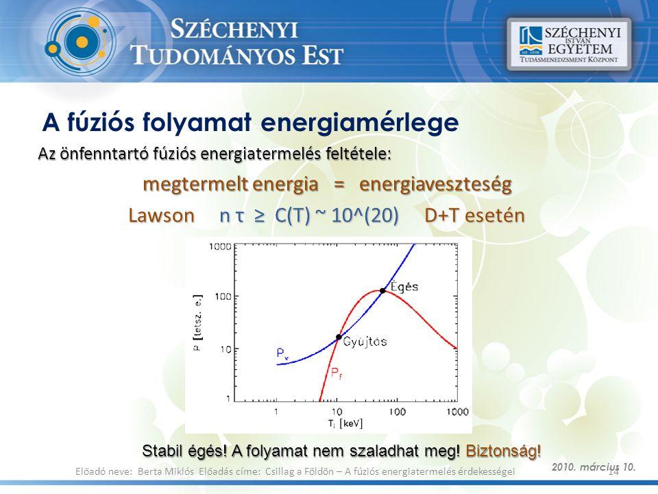 A fúziós folyamat energiamérlege