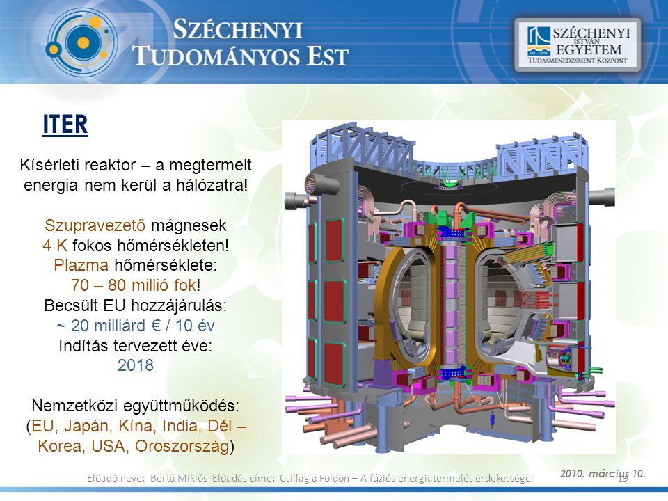 ITER Kísérleti reaktor – a megtermelt energia nem kerül a hálózatra!