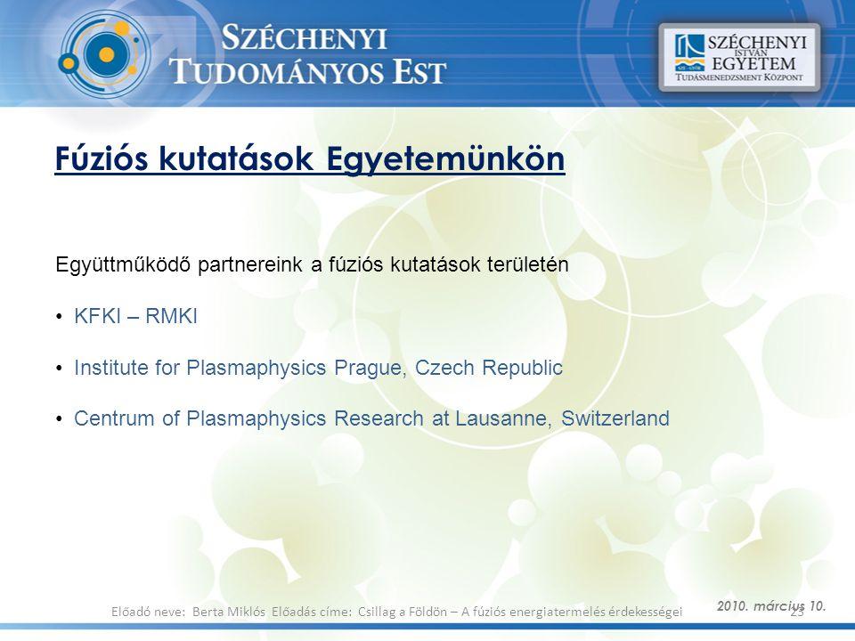 Fúziós kutatások Egyetemünkön