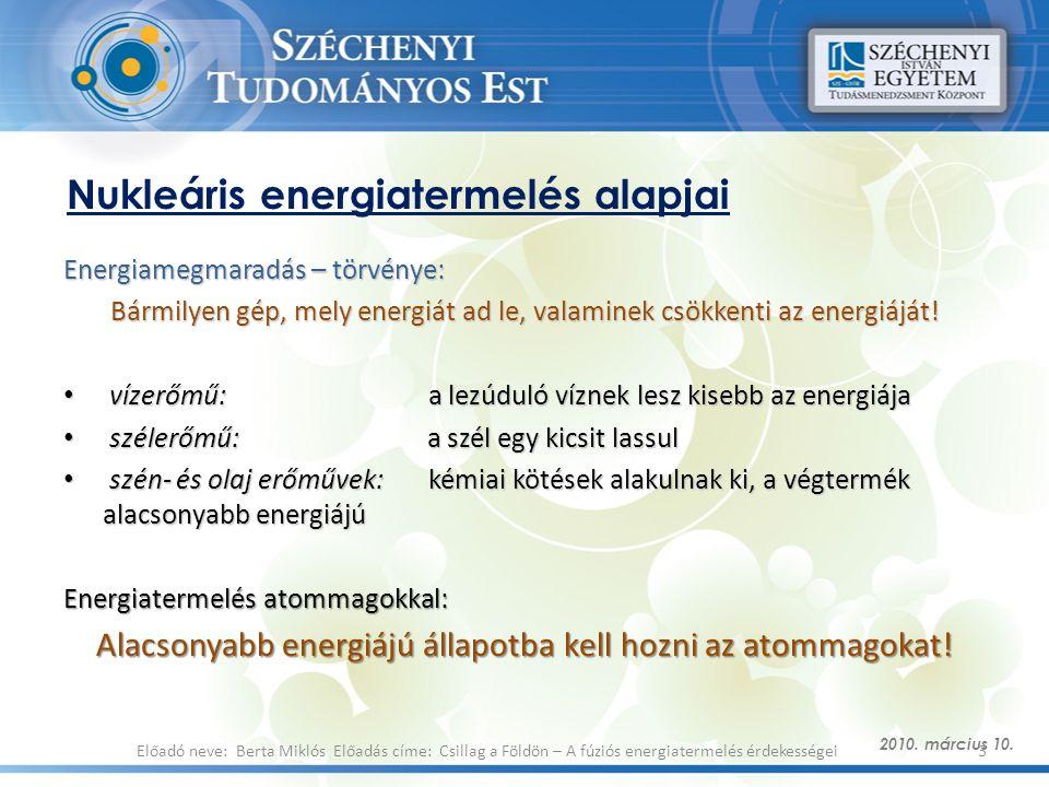 Nukleáris energiatermelés alapjai
