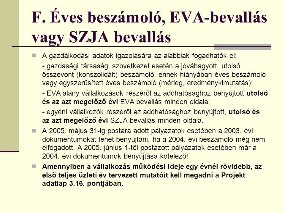F. Éves beszámoló, EVA-bevallás vagy SZJA bevallás
