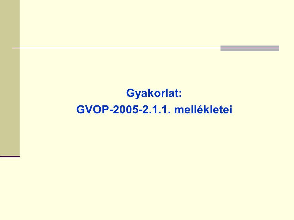 Gyakorlat: GVOP-2005-2.1.1. mellékletei