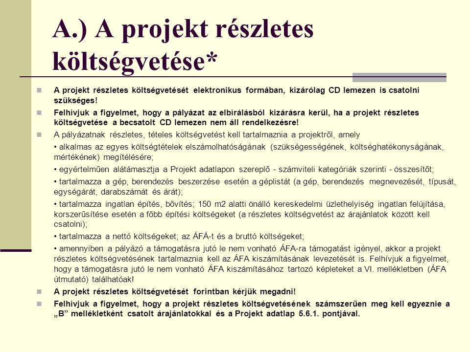A.) A projekt részletes költségvetése*