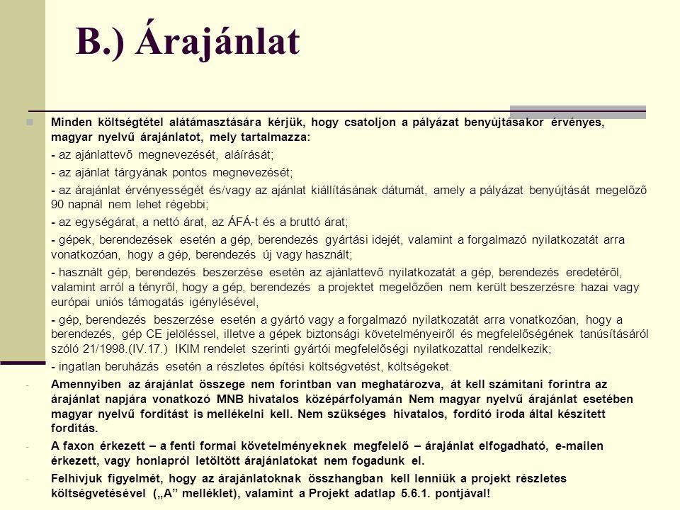 B.) Árajánlat