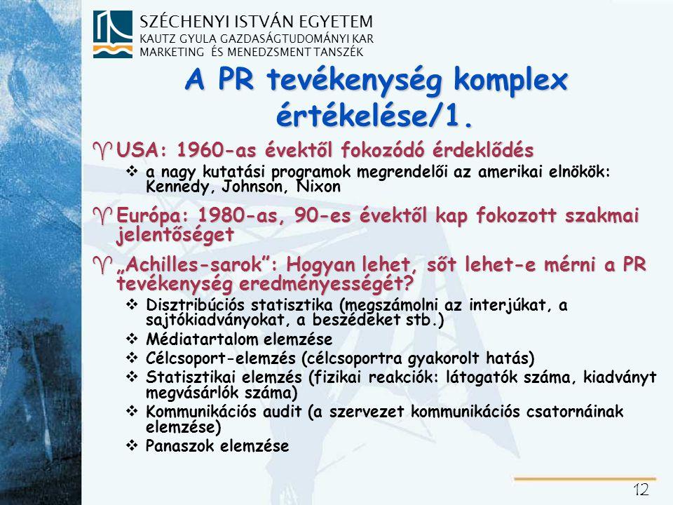 A PR tevékenység komplex értékelése/2.