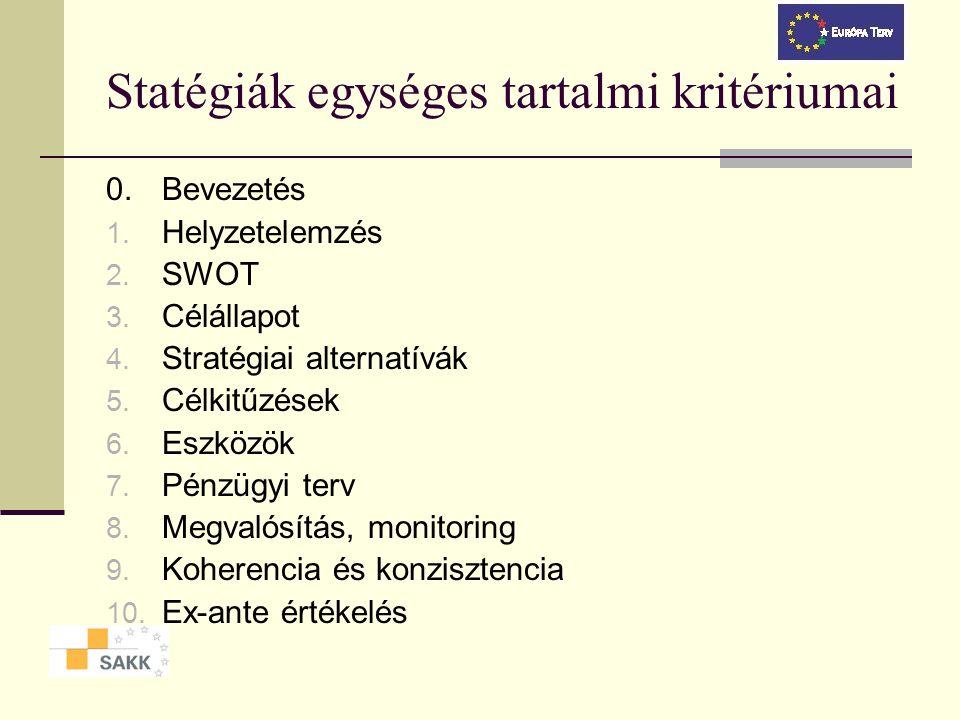 Statégiák egységes tartalmi kritériumai