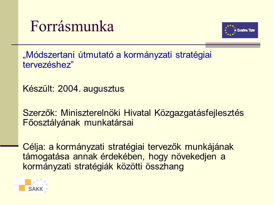 """Forrásmunka """"Módszertani útmutató a kormányzati stratégiai tervezéshez Készült: 2004. augusztus."""