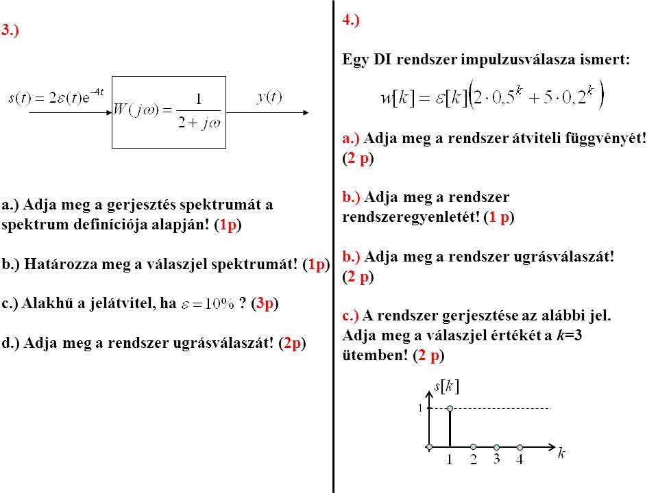 4.) Egy DI rendszer impulzusválasza ismert: a.) Adja meg a rendszer átviteli függvényét! (2 p) b.) Adja meg a rendszer rendszeregyenletét! (1 p)