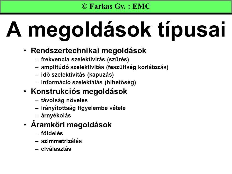 A megoldások típusai © Farkas Gy. : EMC Rendszertechnikai megoldások