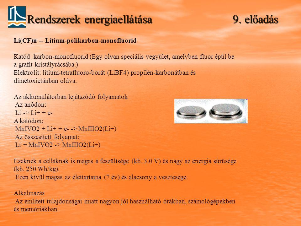 Rendszerek energiaellátása 9. előadás