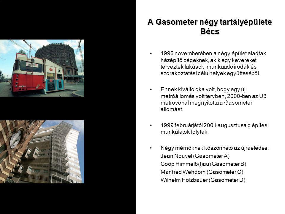 A Gasometer négy tartályépülete Bécs