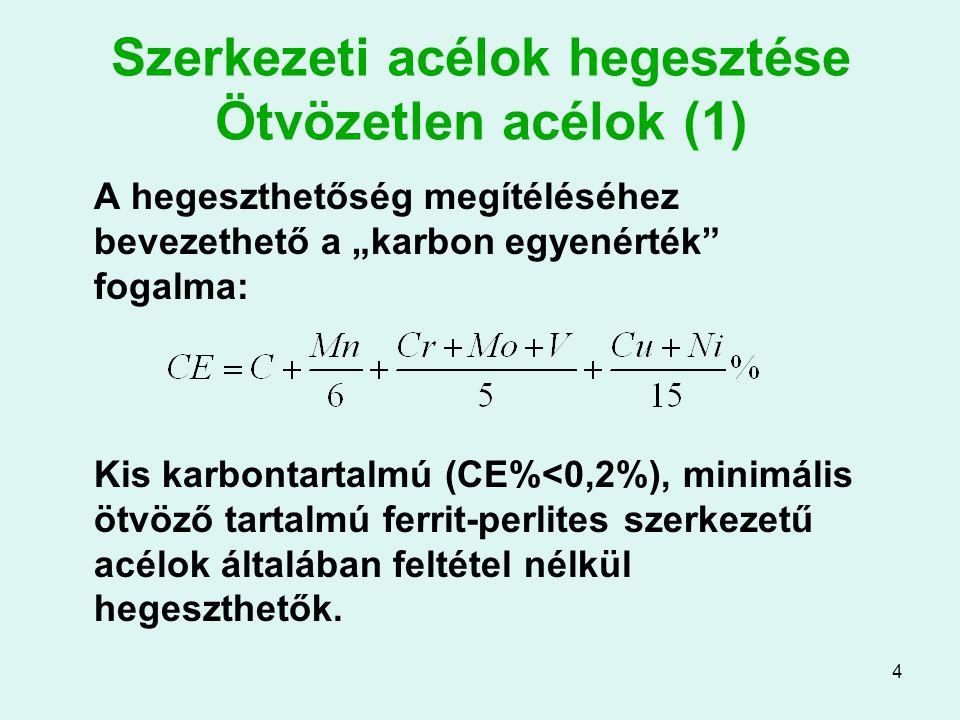 Szerkezeti acélok hegesztése Ötvözetlen acélok (1)
