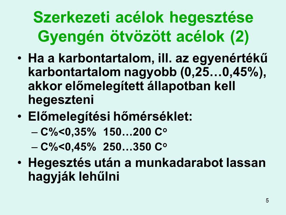 Szerkezeti acélok hegesztése Gyengén ötvözött acélok (2)