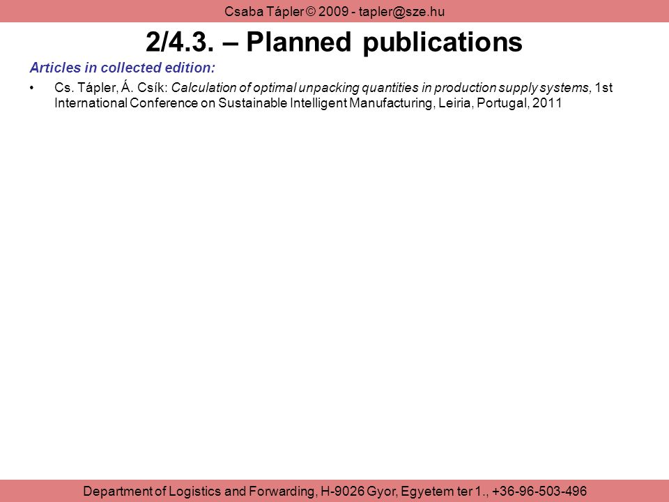2/4.3. – Planned publications