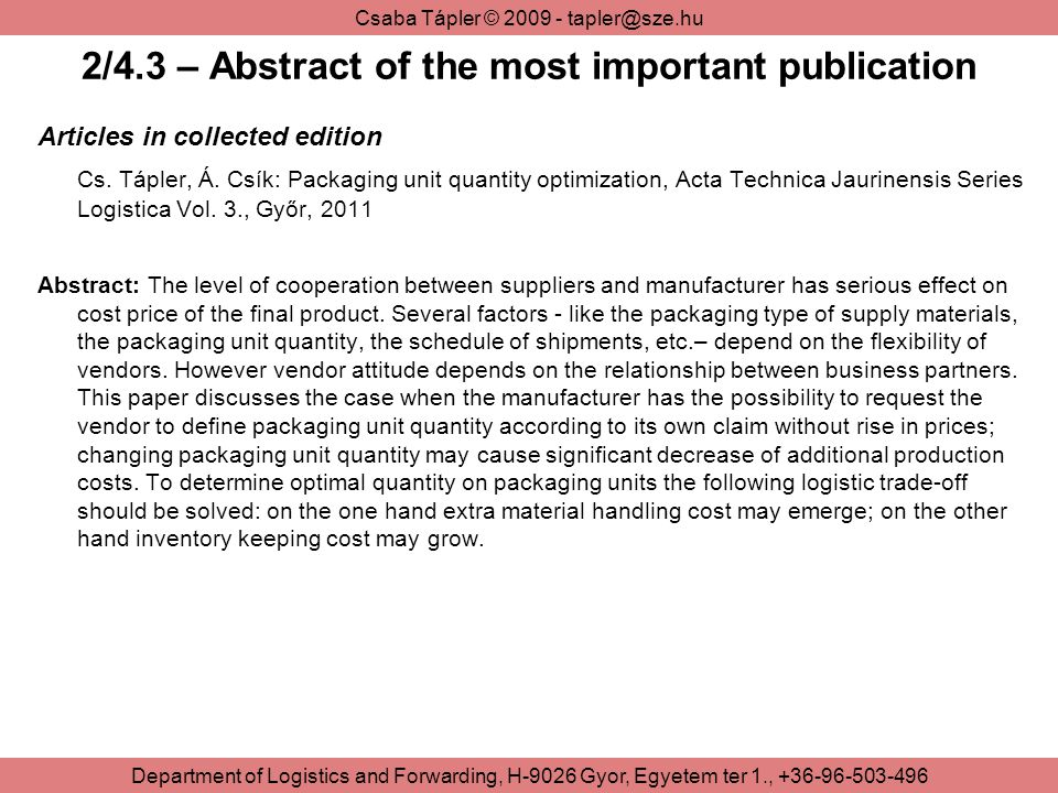 2/4.3 – Abstract of the most important publication