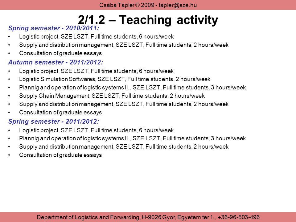 2/1.2 – Teaching activity Spring semester - 2010/2011: