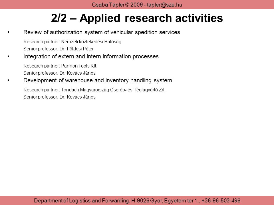 2/2 – Applied research activities
