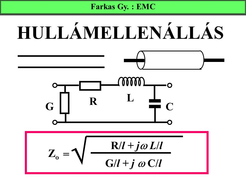  HULLÁMELLENÁLLÁS L R G C R/l + j L/l Zo = G/l + j  C/l