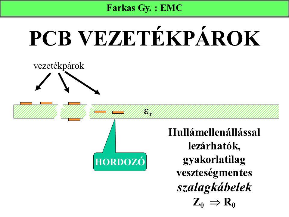 Farkas Gy. : EMC PCB VEZETÉKPÁROK. vezetékpárok. r. Hullámellenállással lezárhatók, gyakorlatilag veszteségmentes szalagkábelek Z0  R0.