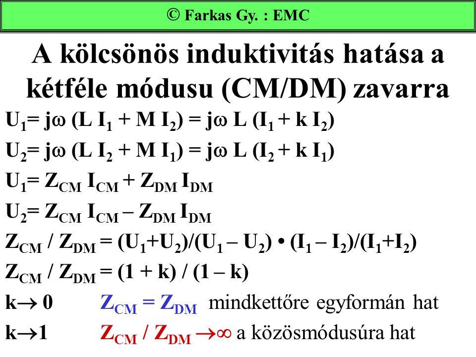 A kölcsönös induktivitás hatása a kétféle módusu (CM/DM) zavarra
