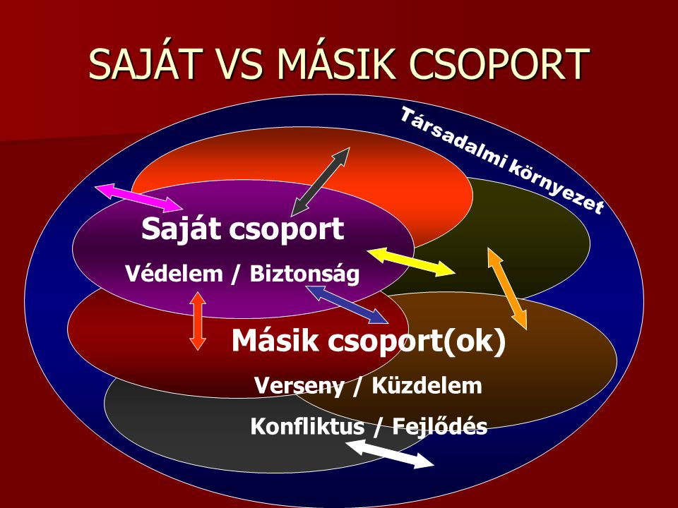 SAJÁT VS MÁSIK CSOPORT Saját csoport Másik csoport(ok)