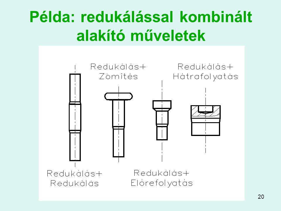 Példa: redukálással kombinált alakító műveletek
