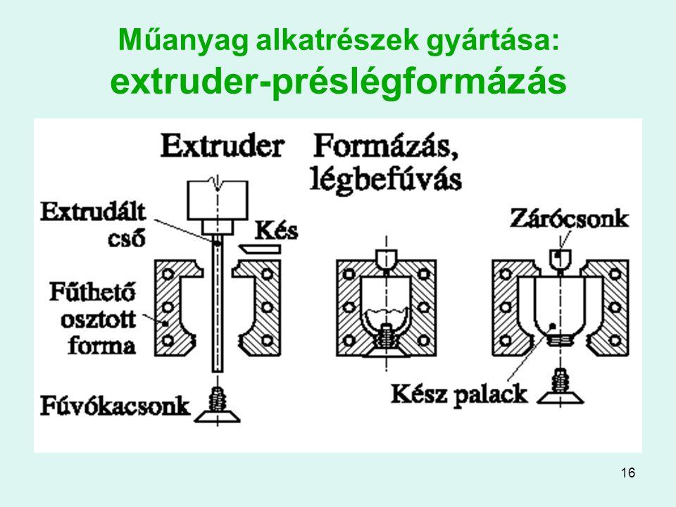 Műanyag alkatrészek gyártása: extruder-préslégformázás