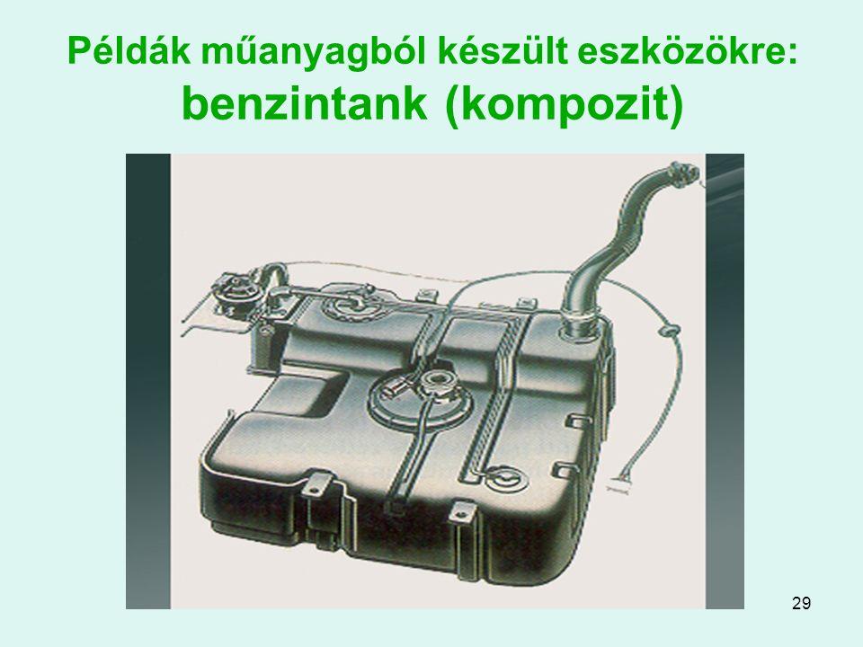 Példák műanyagból készült eszközökre: benzintank (kompozit)