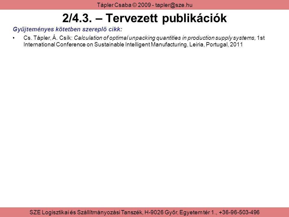 2/4.3. – Tervezett publikációk