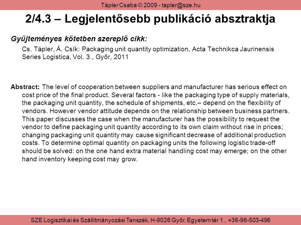 2/4.3 – Legjelentősebb publikáció absztraktja