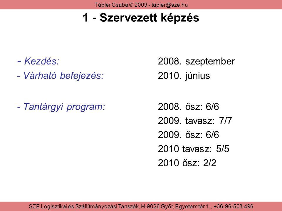 1 - Szervezett képzés - Kezdés: 2008. szeptember