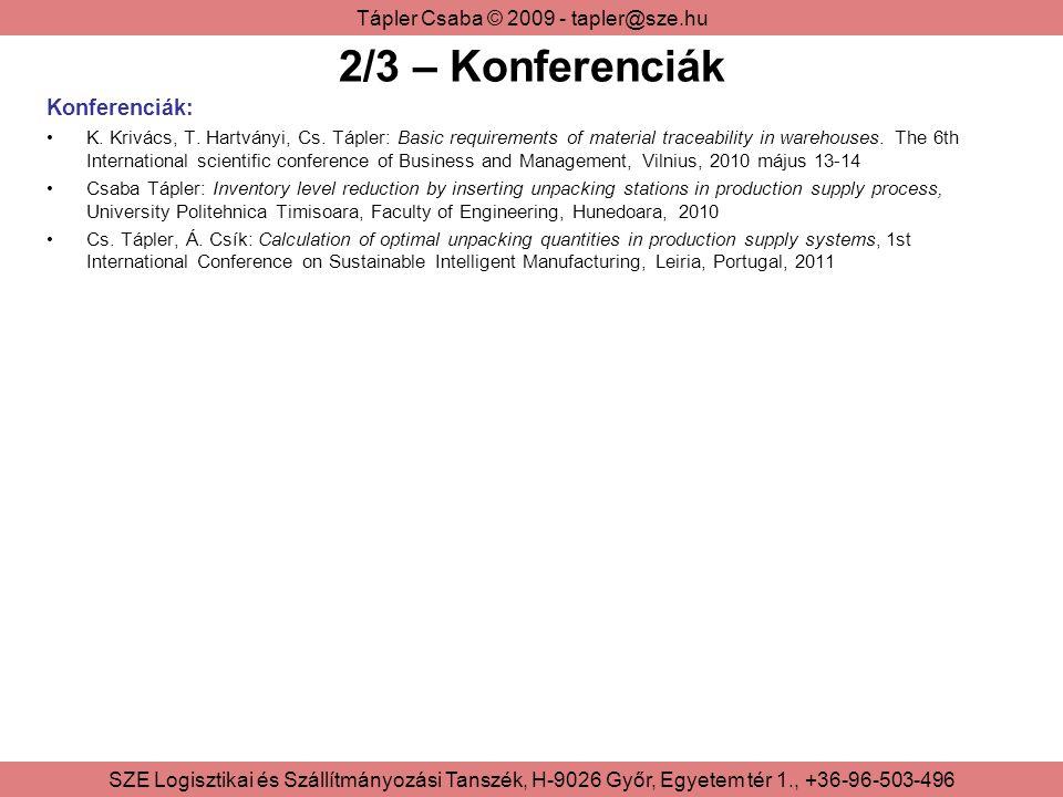 2/3 – Konferenciák Konferenciák: