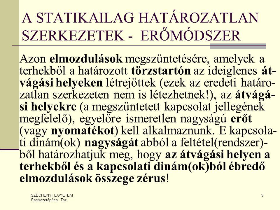A STATIKAILAG HATÁROZATLAN SZERKEZETEK - ERŐMÓDSZER