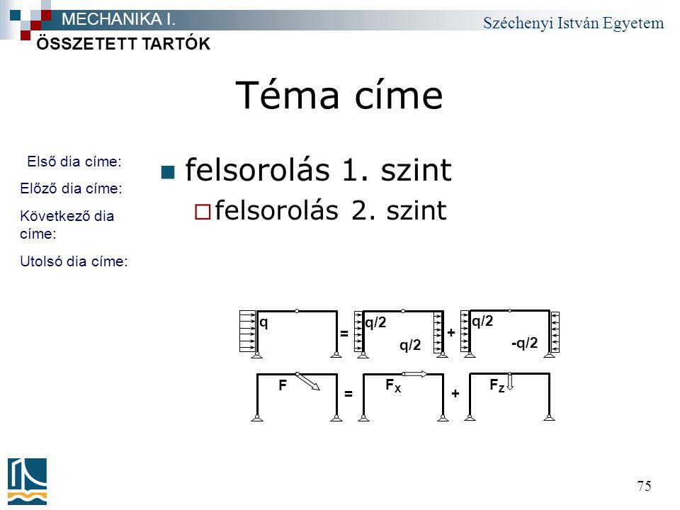 Téma címe felsorolás 1. szint felsorolás 2. szint MECHANIKA I.