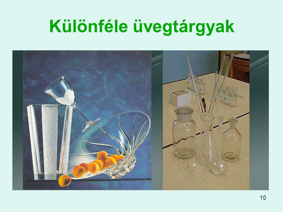 Különféle üvegtárgyak