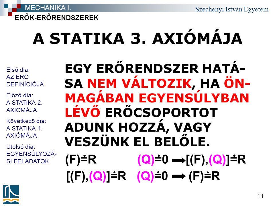 MECHANIKA I. ERŐK-ERŐRENDSZEREK. A STATIKA 3. AXIÓMÁJA.