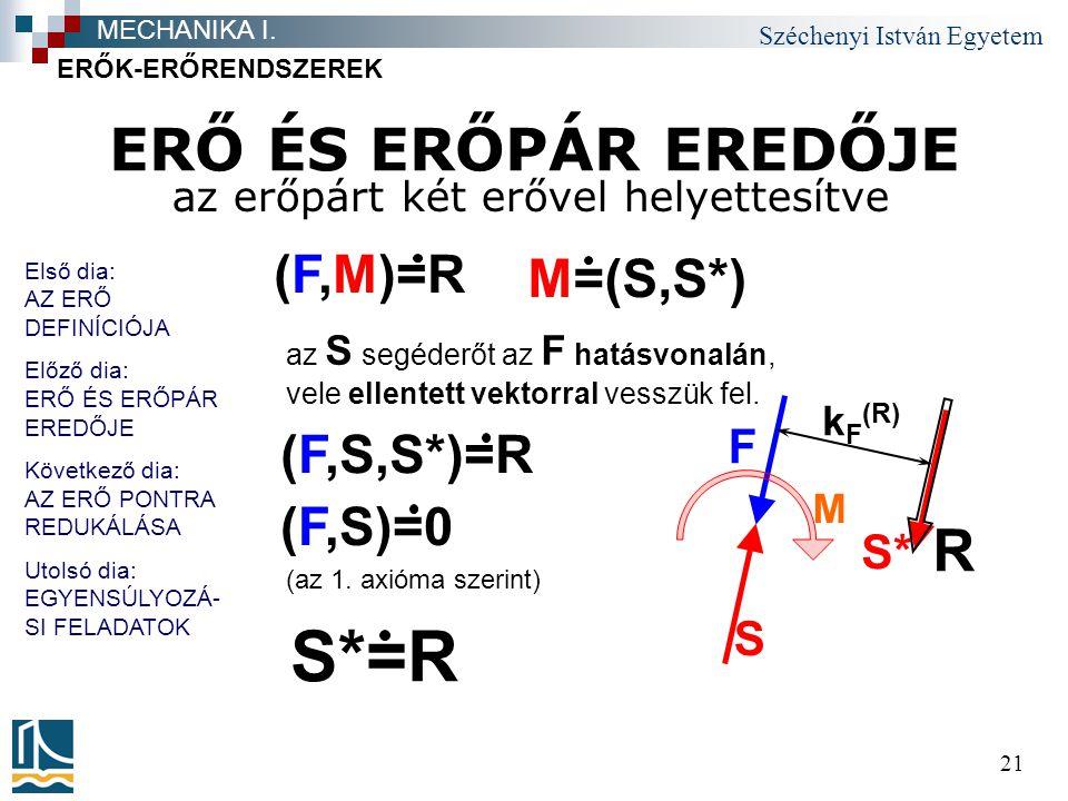 S*=R ERŐ ÉS ERŐPÁR EREDŐJE R (F,M)=R M=(S,S*) (F,S,S*)=R (F,S)=0 F S*
