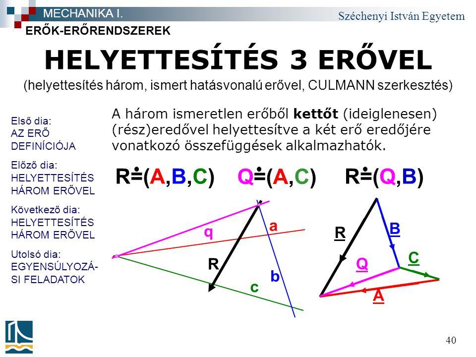 (helyettesítés három, ismert hatásvonalú erővel, CULMANN szerkesztés)