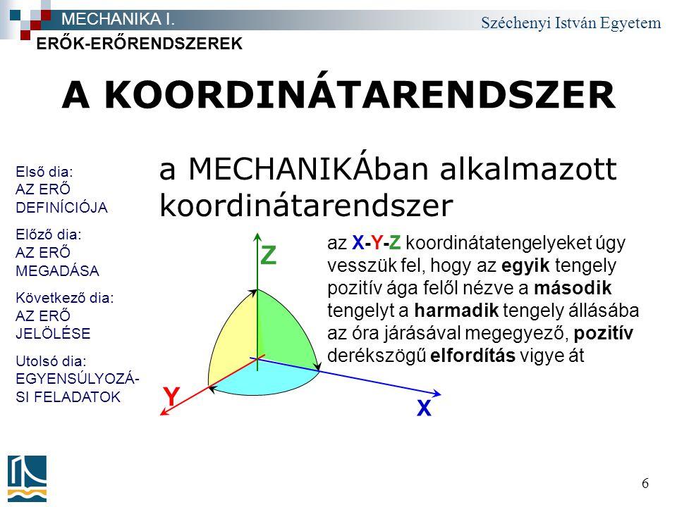 A KOORDINÁTARENDSZER a MECHANIKÁban alkalmazott koordinátarendszer Z Y