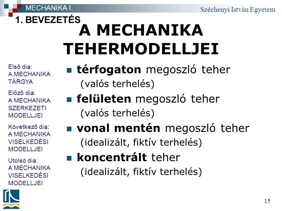 A MECHANIKA TEHERMODELLJEI