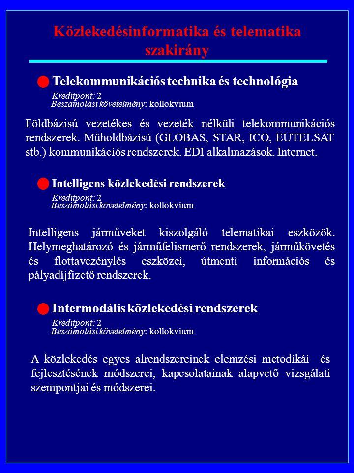 Közlekedésinformatika és telematika szakirány