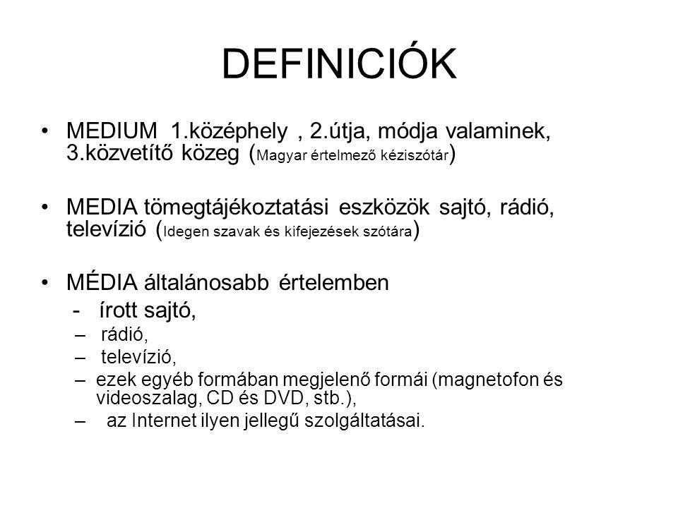 DEFINICIÓK MEDIUM 1.középhely , 2.útja, módja valaminek, 3.közvetítő közeg (Magyar értelmező kéziszótár)