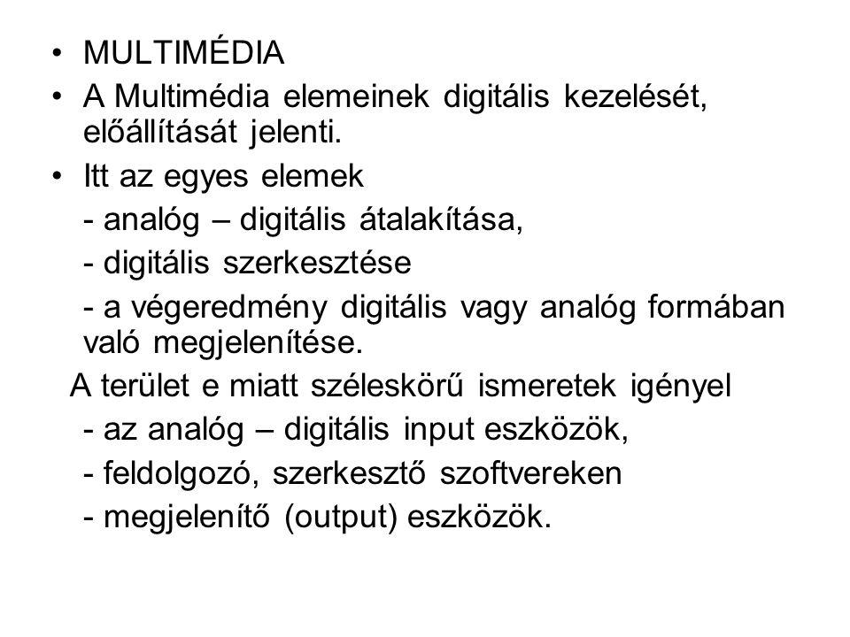 MULTIMÉDIA A Multimédia elemeinek digitális kezelését, előállítását jelenti. Itt az egyes elemek. - analóg – digitális átalakítása,
